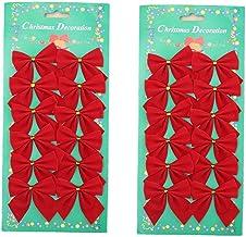 ZaH 24pcs Christmas Tree Decrations Bowknot Cute Wedding Party Home Decration Wreath Hanger Garlands Decor Bows, Fabric, R...