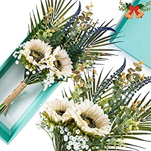 MALOOW 9PCS Artificial Flowers , Sunlower Bouquet, Floral Fake Silk Sunflowers with Stems, Arrangement Centerpieces for House ,Wedding, Garden, Hotel, Party Decoration with Gift Box inc