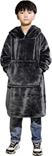 Waitu Wearable Blanket with Sleeves for Women and Men, Oversized Blanket Hoodie with Giant Pocket for Adult and Child, Super Warm and Cozy Hooded Blanket - Dark Gray/L