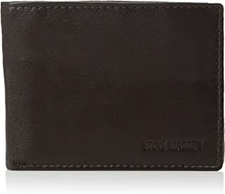 Steve Madden Men's Leather RFID Blocking Wallet with Extra Capacity Id Window
