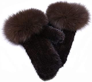 Real Mink Fur Knit Gloves with Real Fox Fur Fluffy Mitten Women Warm Winter Fashion