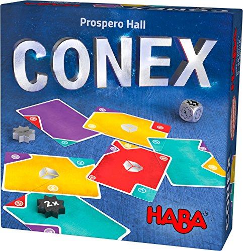 HABA 303497 - CONEX | Cleveres Lege- und Kartenspiel mit vielen Ecken und Kanten | Gesellschaftsspiel für 2-4 Personen | Spiel ab 8 Jahre