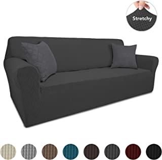 Easy-Going High Stretch Sofa Slipcover with 2 Pillow Covers,Spandex Non Slip Couch Cover for 3 Cushion Couch,1-Piece Sofa Cover,Furniture Protector for Dogs,Pets,Kids(Sofa, Dark Gray)