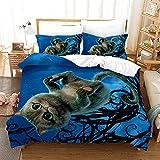 Bedclothes-Blanket Juegos de Cama de 90,SANDET Tres PISTO 3D TRIMENSIÓN TRIMENSIÓN TRIMENDIENDO Ropa de Cama de Gatito-2_260 * 220