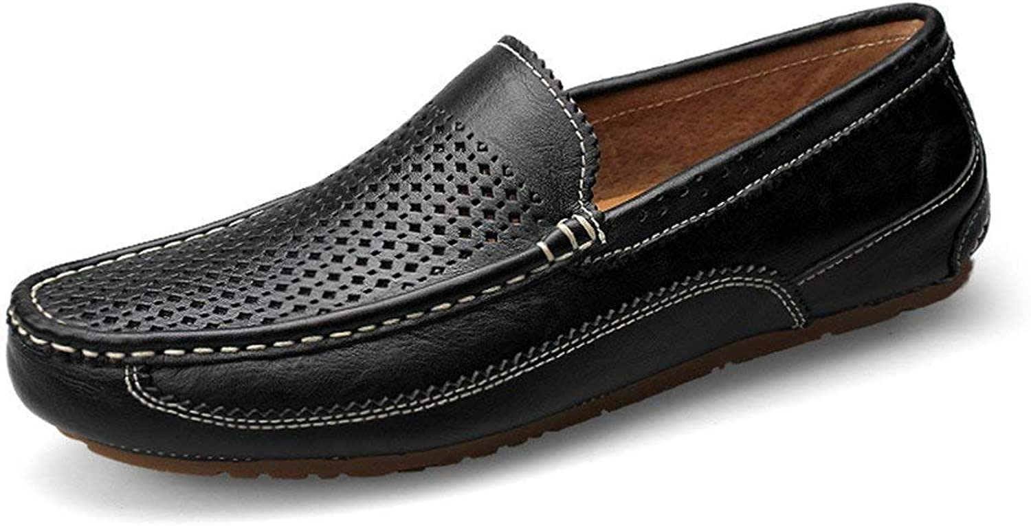 Men's Moccasins shoes, Lightweight Mens Loafer Bare Vamp Wing-Top Edge Slip-on Flat Soft Sole Formal Business Moccasins (color  Hollow Black, Size  43 EU) ( color   As shown , Size   One size )