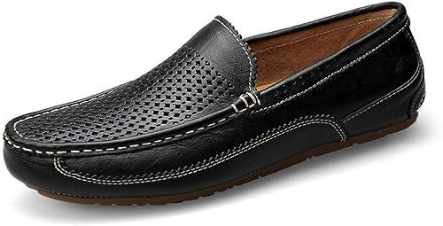 Chaussures mocassins pour hommes, mocassins pour hommes légers et légers Mocassins pour homme d'affaires vierges décontractées et nues (dessus  bordures plates et semelle souple) (Couleur  Noir creux,