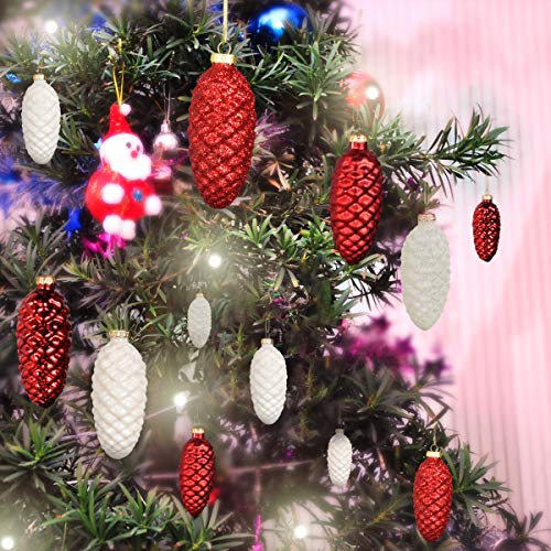 Hand-crafted Ornaments Pine Cone Ornaments Set of 12 Glass Painted Pinecone Pendants Hanging Christmas Baubles for Xmas Tree Decor and Party Supplies (White + Red)