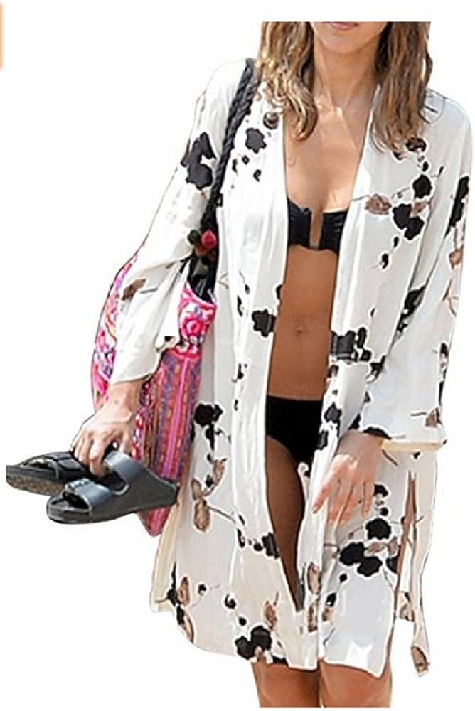 NFASHIONSO Women's Fashion Geometry Print Cover ups Tunic Kimono Cardigan Shawl