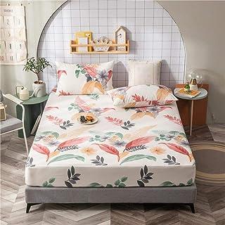 CTOBB 1 pc 100% Pur Coton Drap-Housse avec élastique Double/Complet/Reine/Roi Taille Drap de lit Impression Fleur Housse d...