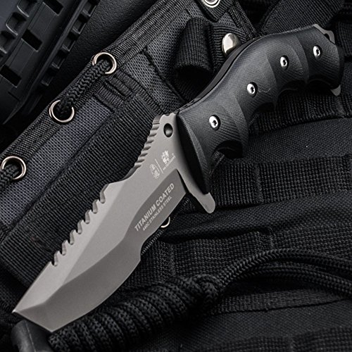 HX OUTDOORS - fixed blade knives with molle sheath,Tanto Blade hunting companion knife Made of 440 stainless steel and ergonomic G10 anti-skidding Handle (D-124)