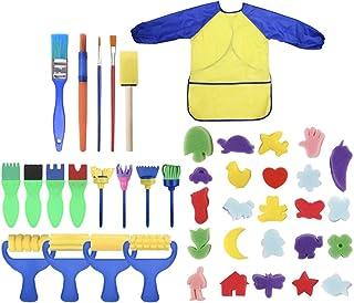 Kids Sponge Painting Brushes Kit, 42 Pieces Sponge Drawing Shapes Paint Craft Brushes Foam Paint Sponges Brushes Roller Br...
