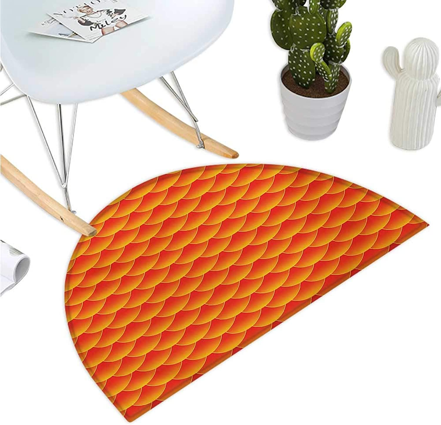 orange Semicircle Doormat goldfish Scales Forming Scallop Shell Random Pattern Fortune Fun Abstract Design Halfmoon doormats H 47.2  xD 70.8  Burnt orange