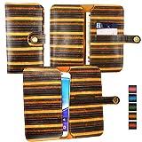 Emartbuy® Brown Vintage Stripes PU Leather Wallet Case
