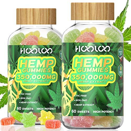 2 Pack Hemp Gummies, HOOLOO 350,000MG Fruity Hemp Gummy for Relaxing, Reduce Stress Anxiety, Sleep Better, Natural Hemp Extract Gummies, Made in USA