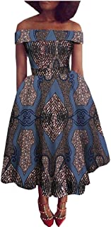 Women's African Dress for Party Wear Wax Print Offshoulder Ball Gown