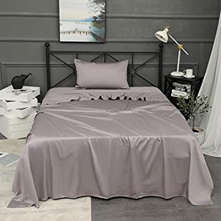 Duvet Set Extra Deep Pkt Fitted Sheet Purple Solid All UK Sizes 1000 TC