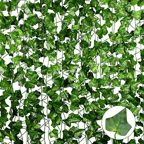 Anoak 90 Ft 12 Pack Artificial Ivy Fake Vine Leaves Wedding Garland Greenery Foliage Fake Hanging Plants for Wedding Decor Party Backdrop Bedroom Balcony Garden Decoration