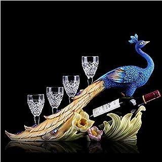 LJXLXY Européen Couple Paon casier à vin Porte-Verre à vin résine Armoire à vin Salon intérieur Bureau Sculpture décoratio...