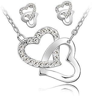 PJ Designs Swarovski Elements Doppia Collana e Orecchini Cuore. Oro Bianco Placcato. Gift Box