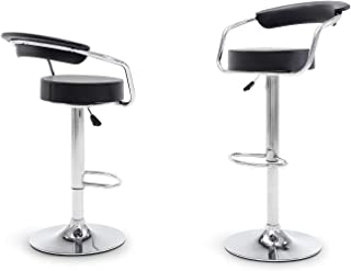 Belleze Set of (2) Bar Stool with Armest Adjustable Hydraulic Height Stools, Black
