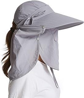 قبعة واقية من الشمس للنساء من icolor قبعات UpF+50 قابلة للفصل الوجه والرقبة واقية من أشعة الشمس فوق البنفسجية قبعات المشي ...