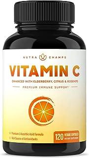 Premium Vitamin C 1000mg with Elderberry, Citrus Bioflavonoids & Rose Hips - 120 Capsules Vegan, Non-GMO Antioxidant Supplement for Immune Health & Collagen Production, 500mg Powder Pills