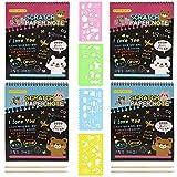 4 Piezas Libro de Scratch para Niños,Scratch Arts para Niños,Juego de Papel para Rascar,con 4 Lápices de Madera y 4 Reglas de Dibujo, Adecuado para Viajes y Juguetes para Fiestas de Cumpleaños