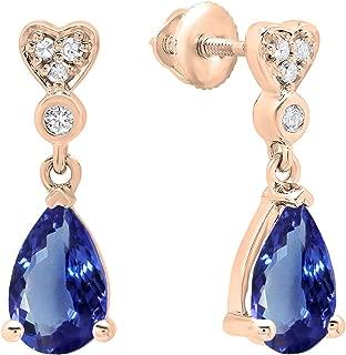 Dazzlingrock Collection 18K 8X5 MM Each Pear Gemstone & Round White Diamond Ladies Dangling Drop Earrings, Rose Gold