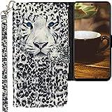 CLM-Tech Funda Compatible con Samsung Galaxy M51, Carcasa Cuero sintético con Función de Soporte y Ranuras para Tarjetas, Leopardo Negro Blanco