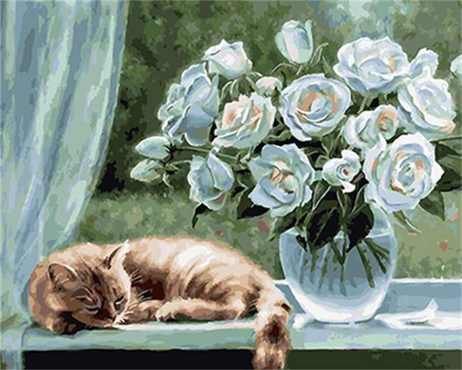 Flower and Cat DIY Painting by Numbers Oil Painting On Canvas Acrylic Paint Wall Art for Home Decor,60x75cm