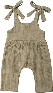 Newborn Infant Baby Girl Straps Sleeveless Ruffle Romper Jumpsuit Harem Pants Overalls