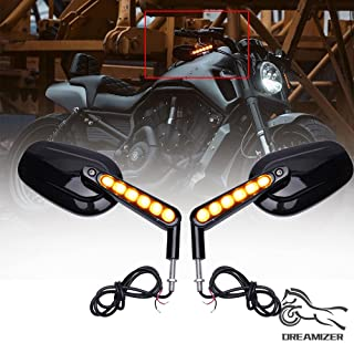 DREAMIZER 8mm Motorcycle Rear View Mirrors with LED Turn Signal Light Handle Side Mirror for V Rod Muscle VRSCF - Black