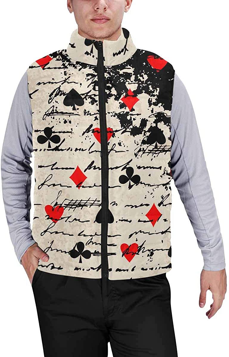 InterestPrint Men's Outdoor Casual Stand Collar Padded Vest Coats a Giant Panda Eating Bamboo Leaves