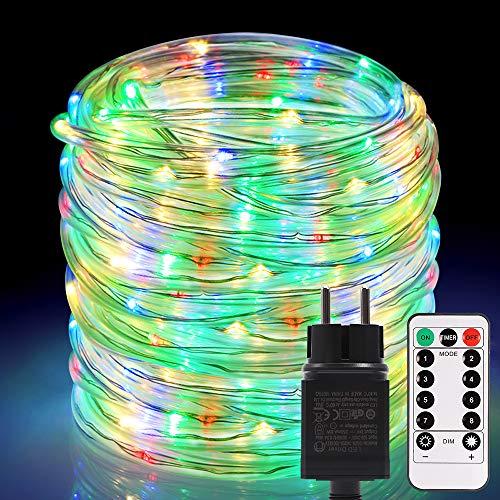Mangueras LED de exterior 336 LED, ECOWHO Extensible 20m/72ft Cadena de Luces Exterior de RGB Color, 24v Luz de Cadena Elenchufe y Reproduce, Tubos de Luces Navidad para Balcón Boda Fiesta Árbol