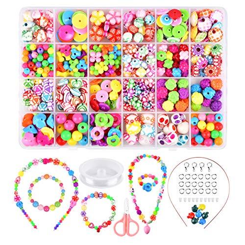Funkprofi Perlen zum Auffädeln, DIY Kinderschmuck, Armband Ketten Halsketten Basteln, Perlenschmuck Set für Mädchen, Kinder(Ethnischer Stil)