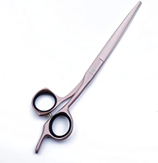 Professional Lightweight Barber/Salon Razor Edge 7'' Hair Cutting Scissors/Shears with Detachable Finger Inserts - Large Finger Holes - Hairdressing Scissors Tool Japan 440C (Pale Pink)
