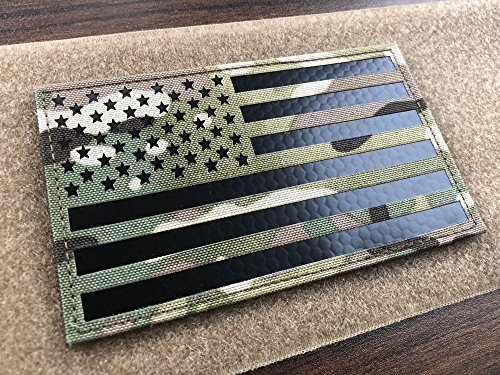 SUVIYA 5x3 inch Large Multicam Infrared IR US USA American Flag Patch Tactical Vest Patch Hook-Fastener Backing (5 Width x 3 Height) (Multicam)
