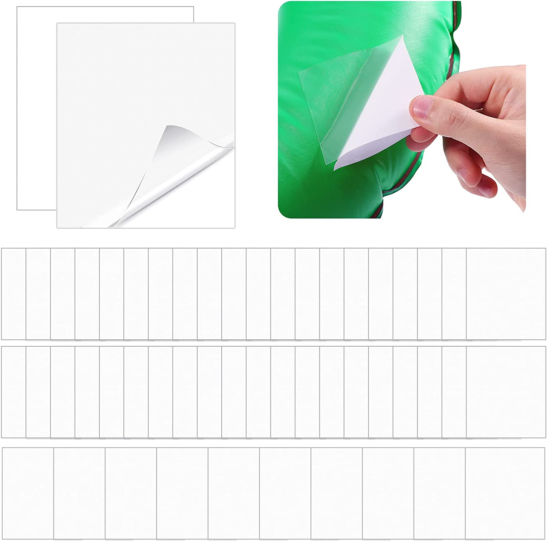 50 Piezas Kit de Reparación de Parche Inflable de TPU Parches de Reparación Autoadhesivos de Piscina de Forma Cuadrada 7 x 7 cm para Juguetes Inflables Piscinas Anillo de Natación
