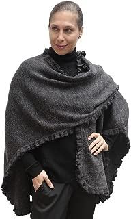 Women's Knitted Baby Rabbit Wool Ruffle Trim Ruana Cape Wrap One Size