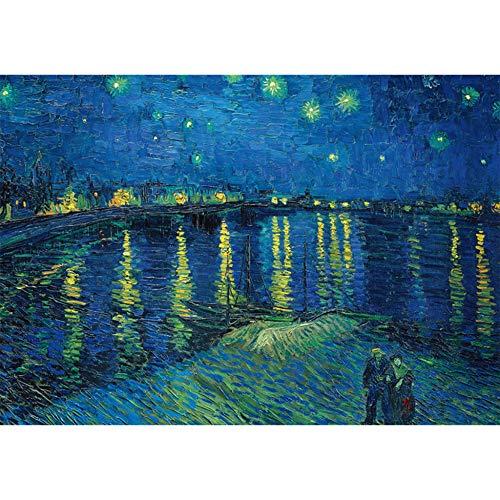 Rompecabezas para Adultos - Van Gogh Noche Estrellada En El Ródano - Puzzles De 600 Piezas Juego Educativo para Aliviar El Estrés para Niños Adultos