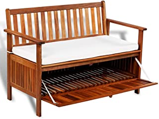 Festnight Wooden Outdoor Storage Bench Acacia Wood Garden Patio Deck Storage Container with Cushion Seat Armrest and Backrest Cabinet Chair Pool Yard Furniture 47.2