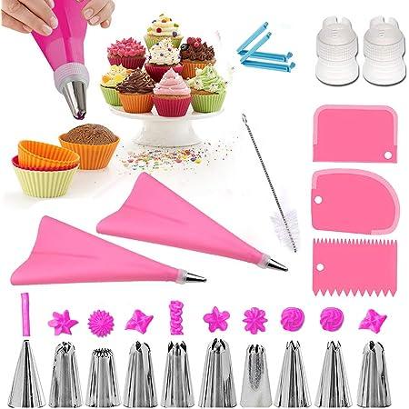 Douilles Pâtisserie, 20 Pièces en Acier Inoxydable DIY Kits, 10 Douilles, 2 poche à douille en silicone 2 Coupleurs, 3 cornes et peignes à gâteau, 2 adaptateurs, Brosse, Cupcakes et Cookies (pink)