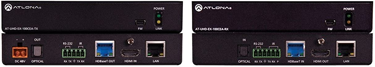 Atlona AT-UHD-EX-100CEA-KIT 4K/UHD HDMI 100M HDBT TX/RX with Ethernet, Control, PoE & Optical Audio Return