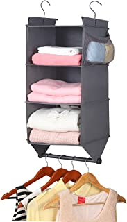 MAX Houser Hanging Closet Organizer with Garment Rod, 3-Shelves Hanging Sweater Organizer with 2 Side Pockets,Collapsible Storage Shelves with 2 Metal Hooks, Grey
