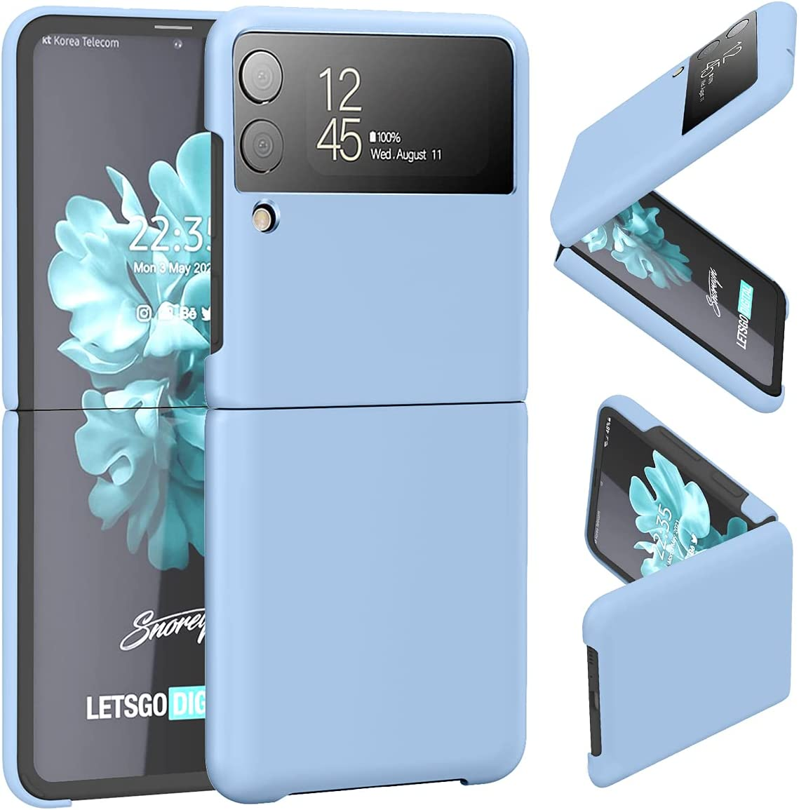 SunStory Compatible with Samsung Galaxy Z Flip 3 Clear Case,Galaxy Z Flip 3 2021 Case [Slim Thin] Crystal Hard PC and Bumper Shockproof Anti-Scratch Transparent(Blue)