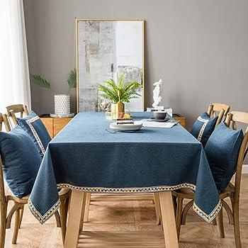 """Pahajim Mantel de lino de algodón vintage Mantel rectangular a prueba de polvo Mantel bordado con borlas para la cocina (azul, cuadrado, 53""""x53""""(4 asientos))"""