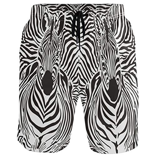 visesunny Zebra Animal Print Mens Swim Trunks Quick Dry Board Shorts Bathing Suits Swimsuits Beachwear with Mesh Lining