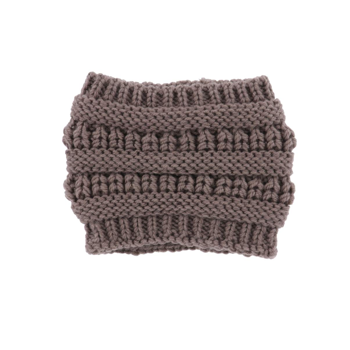Lurrose Cable Knitted Headband Woolen Yarn Winter Elastic Crochet Hairband Turban Ear Warmer Headwrap Forehead Warmer Headwear for Women(Khaki)