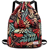 Drawstring Backpack String Bag Sackpack Cinch Water Resistant Nylon for Gym Shopping Sport Yoga by WANDF (Red leaf 6032)
