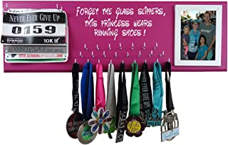 RunningontheWall Medal Hanger Medal Display Rack and Race Bibs Forget The Glass Slippers, This Princess Wears Running Shoes! Running Bib with Picture Frame Design